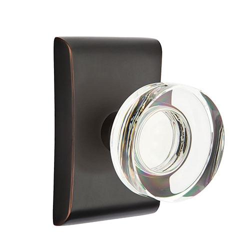 Emtek Modern Disc Crystal Door Knob Set with Neos Rosette Oil Rubbed Bronze