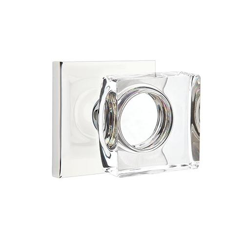 Emtek Modern Square Crystal Door Knob Set with Square Rosette Polished Chrome