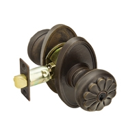 Emtek Petal Keyed Entry Door Knob with #14 Rose in Medium Bronze (MB)