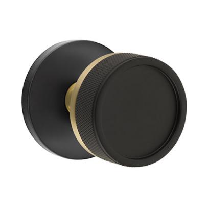 Emtek Select Knurled Door Knob Set with Conical Stem - Disk Rose and knob in Flat Black, Stem in Satin Brass
