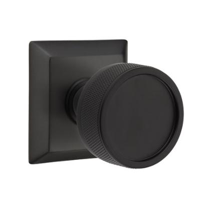 Emtek Select Knurled Door Knob Set with Conical Stem Wilshire Rose Flat Black