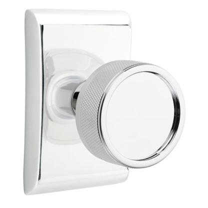 Emtek Select Knurled Door Knob Set with Conical Stem Neos Rose Polished Chrome