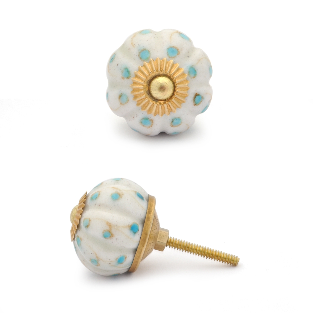 PotteryVille White Base with Turquoise Dots Cabinet knob