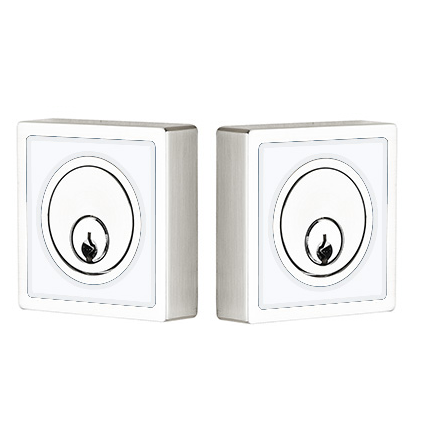 Emtek L8369 Martinique Double Cylinder Deadbolt with Pearl White Insert