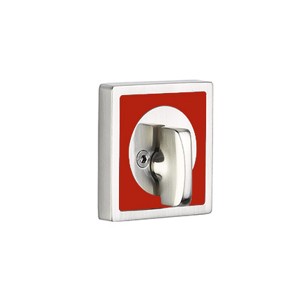 Emtek L8569 Martinique Single Sided Deadbolt with Hibiscus Red Insert