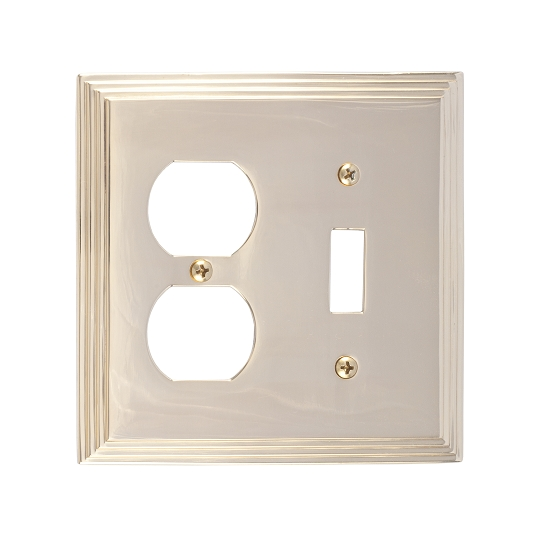 Brass Accents M02-S2540-605 Classic Steps -Single Switch and Single Outlet Plate
