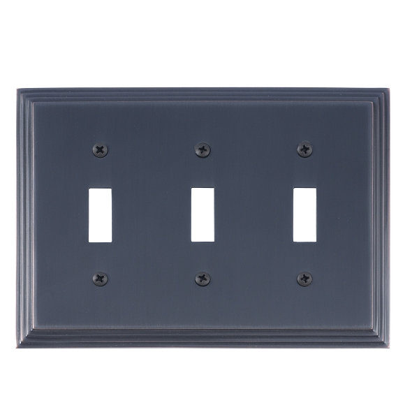 Brass Accents M02-S2550-613VB Classic Steps Triple Switch Plate