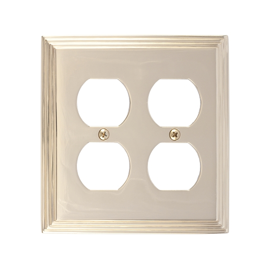 Brass Accents M02-S2560-605 Classic Steps Double Outlet Plate
