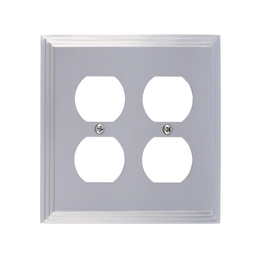 Brass Accents M02-S2560-619 Classic Steps Double Outlet Plate