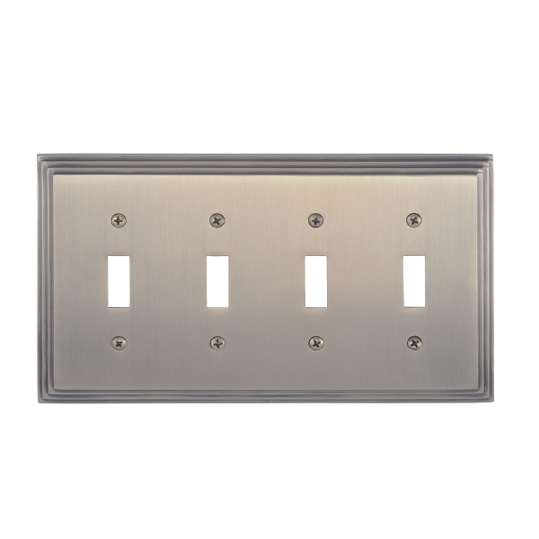 Brass Accents M02-S2591-609 Classic Steps Quad Switch Plate