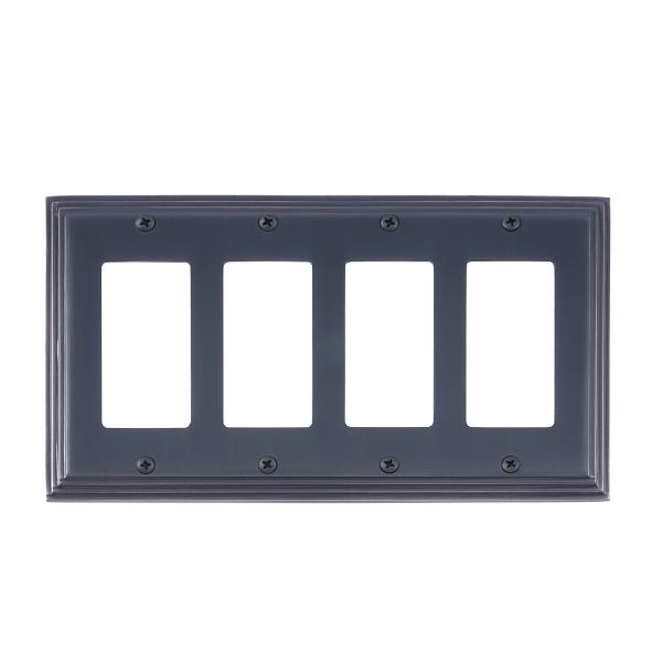 Brass Accents M02-S2592-613VB Classic Steps Quad GFCI Switch Plate