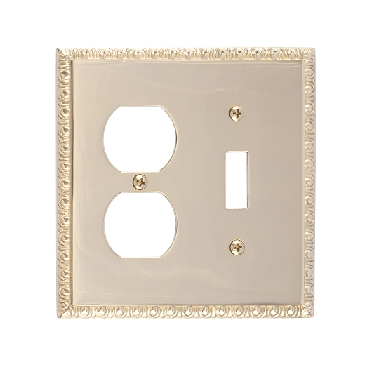 Brass Accents M05-S7540-605 Egg & Dart Double-Single Switch and Single Outlet