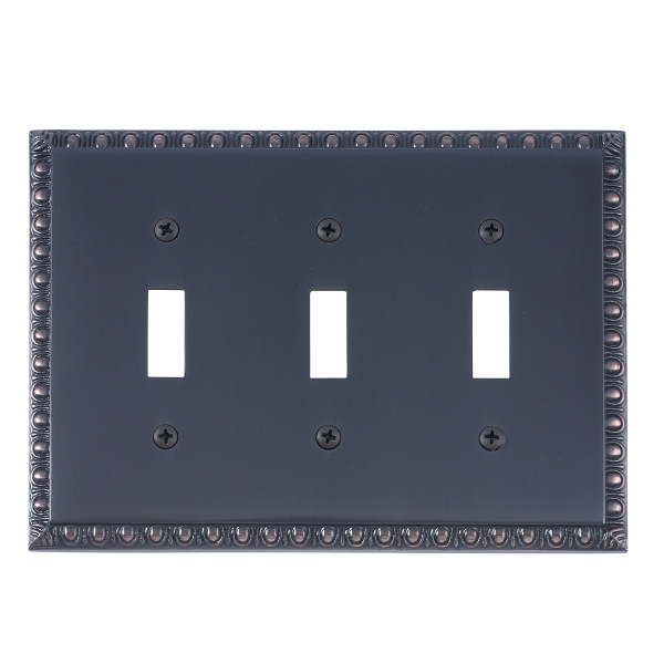Brass Accents M05-S7550-613VB Egg & Dart Triple Switch Plate