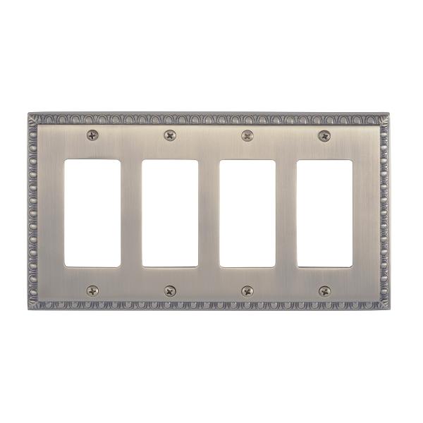 Brass Accents M05-S7592-609 Egg & Dart Quad GFCI Switch Plate