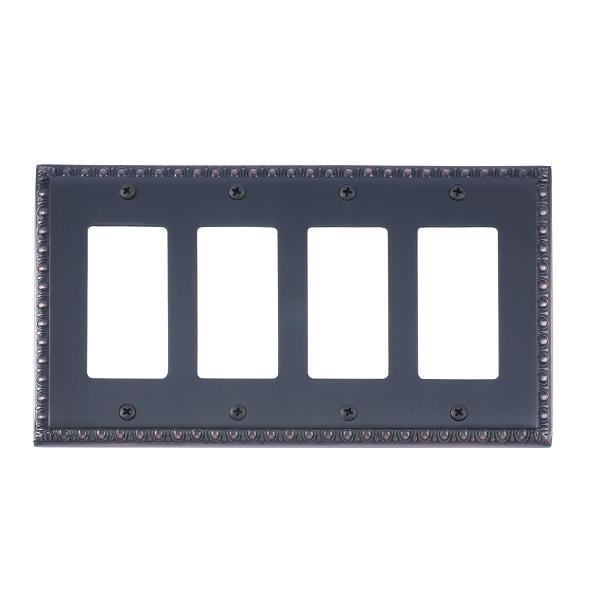 Brass Accents M05-S7592-613VB Egg & Dart Quad GFCI Switch Plate