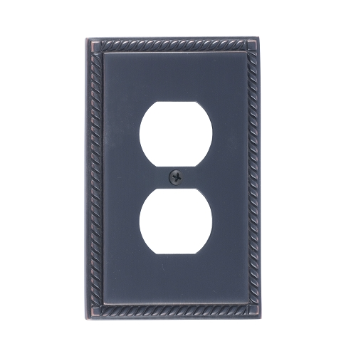 Brass Accents M06-S8510-613VB Georgian Single Outlet Plate
