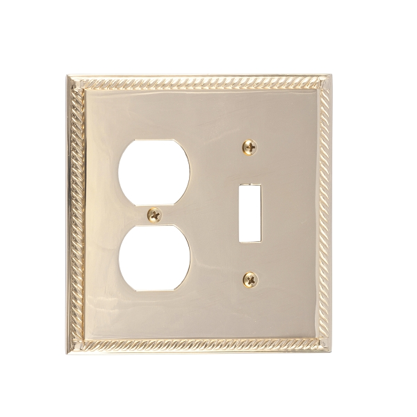 Brass Accents M06-S8540-605 Georgian -Single Switch and Single Outlet Plate