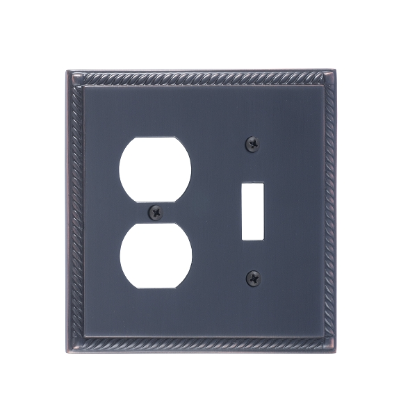 Brass Accents M06-S8540-613VB Georgian -Single Switch and Single Outlet Plate
