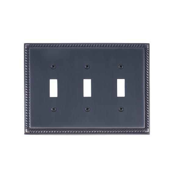 Brass Accents M06-S8550-613VB Georgian Triple Switch Plate