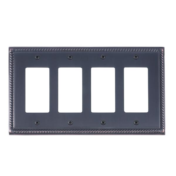 Brass Accents M06-S8592-613VB Georgian Quad GFCI Switch Plate