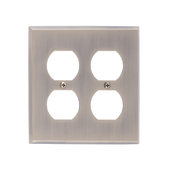 Brass Accents M07-S4560-609 Quaker Double Outlet Plate