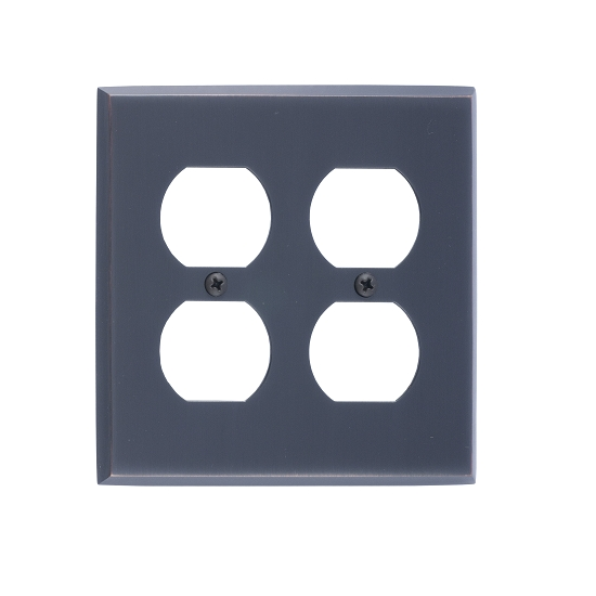 Brass Accents M07-S4560-613VB Quaker Double Outlet Plate