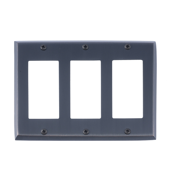 Brass Accents M07-S4590-613VB Quaker Triple GFCI Switch Plate