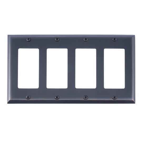 Brass Accents M07-S4592-613VB Quaker Quad GFCI Switch Plate