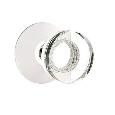 Emtek Modern Disc Crystal Door Knob Set with Modern Rose Satin Brass