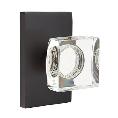 Emtek Modern Square Crystal Door Knob with Rectangular Rose Oil Rubbed Bronze