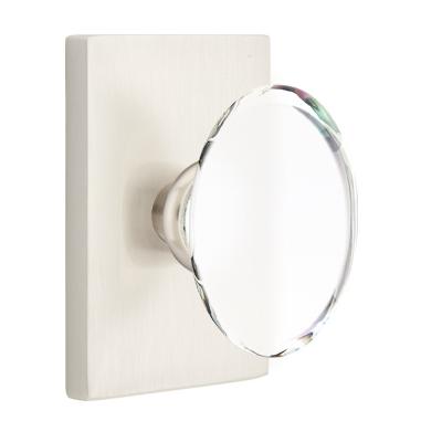Emtek Modern Hampton Door Knob with Modern Rectangular Rosette Satin Nickel