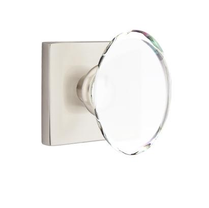 Emtek Modern Hampton Door Knob Set with Square Rosette Satin Nickel