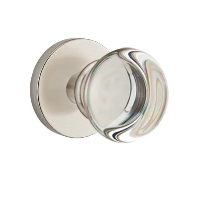 Mtek Modern Providence Crystal Door Knob Set With Disk Rose Satin Nickel