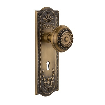 Nostalgic Warehouse Meadows Backplate with Meadows knob AB Antique Brass