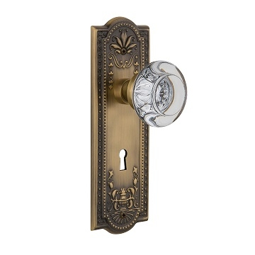 Nostalgic Warehouse Meadows Backplate with Round Crystal knob