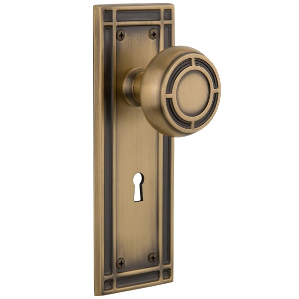 Nostalgic Warehouse Mission Backplate Set with Mission Knob Antique Brass (AB)