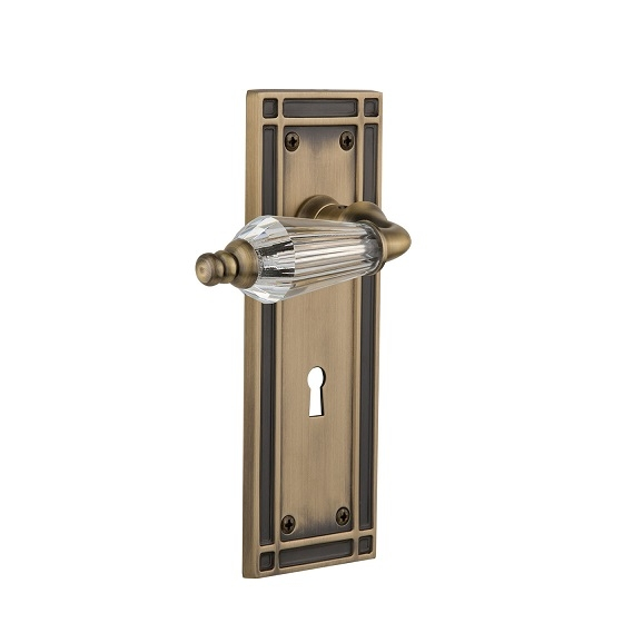 Nostalgic Warehouse Mission Backplate Set With Parlour Lever Antique Brass