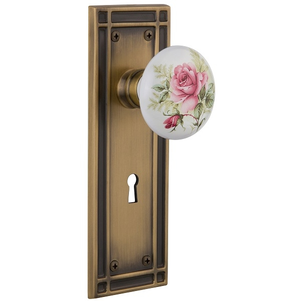Nostalgic Warehouse Mission Backplate Privacy Mortise with Rose Porcelain Knob