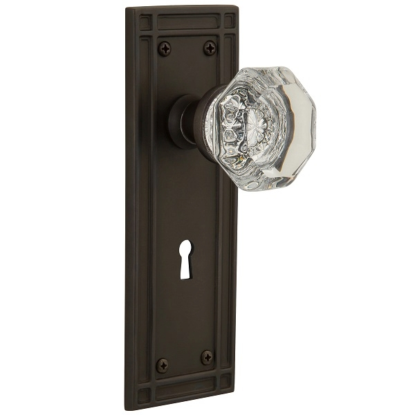 Nostalgic Warehouse Mission Backplate Privacy Mortise with Waldorf Knob (OB)
