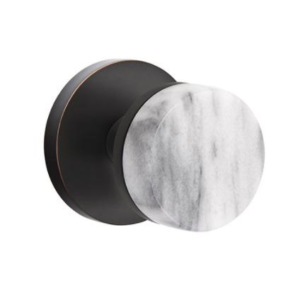 Emtek Select White Marble Door Knob Set with Conical Stem Disk Rose in Oil Rubbed Bronze