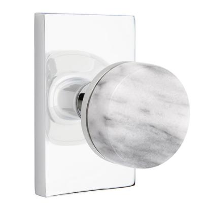 Emtek Select White Marble Door Knob Set with Conical Stem Modern Rectangular Rose Polished Chrome