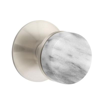 Emtek Select White Marble Door Knob Set with Conical Stem Modern Rose Satin Nickel
