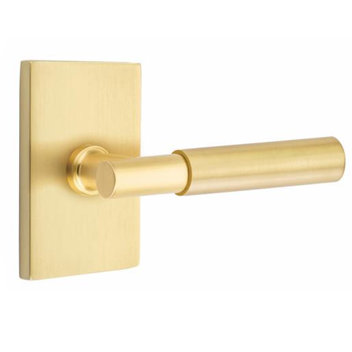 Emtek Myles Door Lever Set with Modern Rectangular Rose in Satin Brass