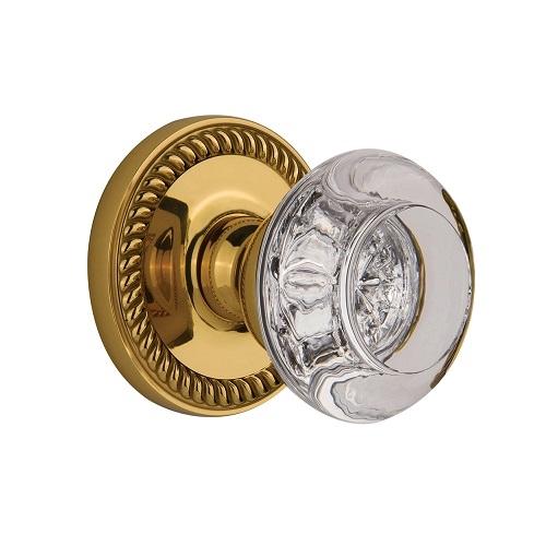 Grandeur Bordeaux Crystal Door Knob Set with Newport Rose Polished Brass