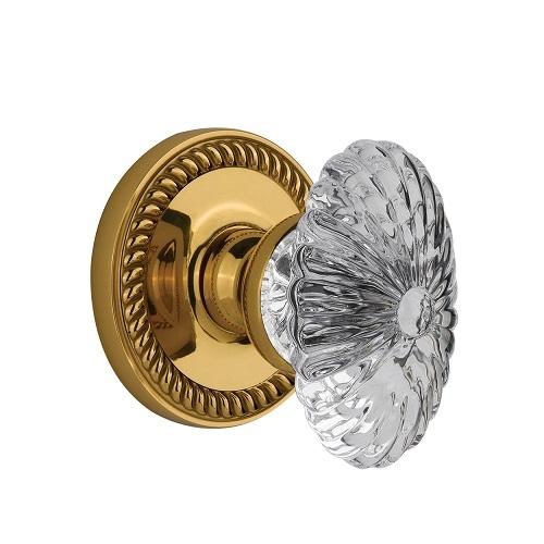 Grandeur Burgundy Crystal Door Knob Set with Newport Rose Lifetime Brass