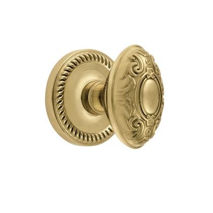 Grandeur Grande Victorian Knob with Newport Rose Polished Brass