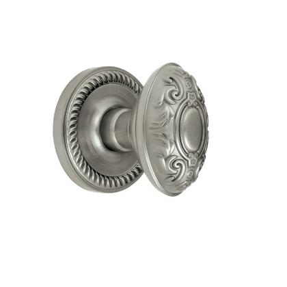 Grandeur Grande Victorian Knob with Newport Rose Satin Nickel
