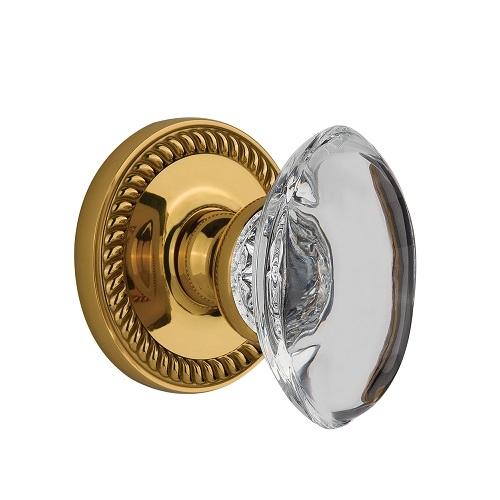 Grandeur Provence Crystal Door Knob Set with Newport Rose Lifetime Brass