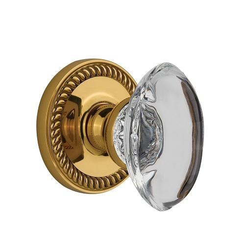 Grandeur Provence Crystal Door Knob Set with Newport Rose Polished Brass