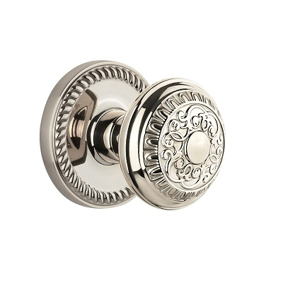 Grandeur Windsor Knob with Newport Rose Polished Nickel